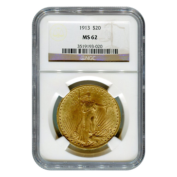 Certified $20 St Gaudens 1913 MS62 NGC