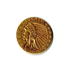 Early Gold Bullion $5 Indian Jewelry Grade
