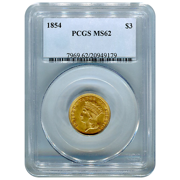 Certified US Gold $3  MS62 (Dates Our Choice) PCGS or NGC