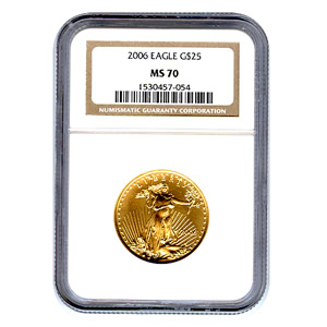 Certified American $25 Gold Eagle 2006 MS70 NGC