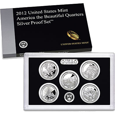 US Proof Set 2012 5pc Silver (Quarters Only) America The Beautiful