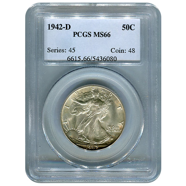 Certified Walking Liberty Half Dollar 1942-D MS66 PCGS
