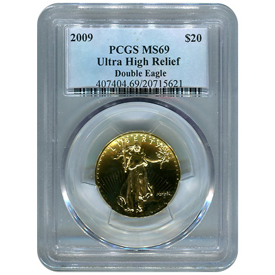 Certified 2009 Ultra High Relief Gold American Eagle MS69 PCGS