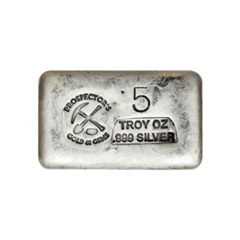 Prospectors Gold And Gems Silver Bar 5 Ounce .999 Fine