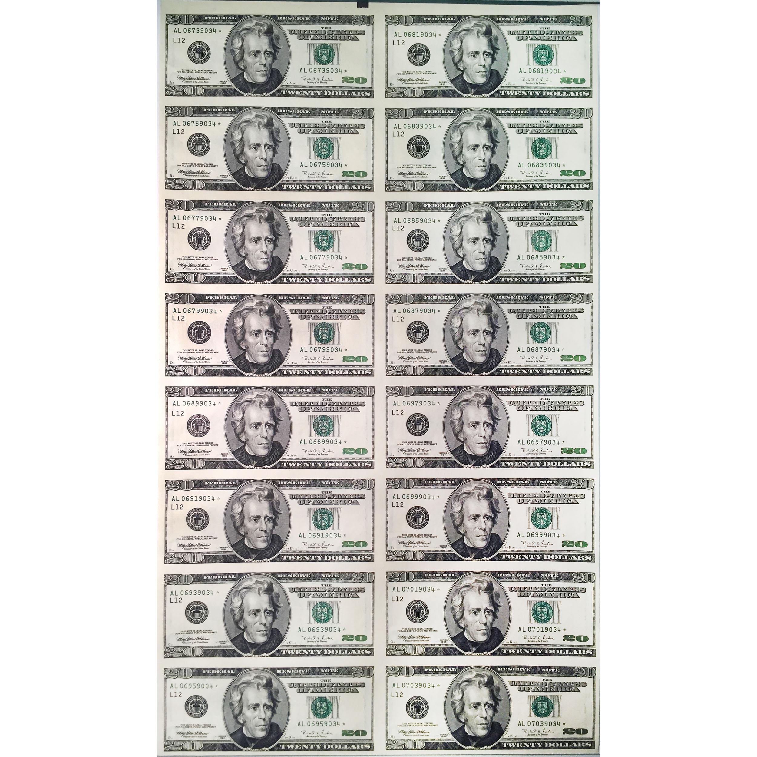 Uncut Currency Sheet 16 X 20 1996 Star Unc Golden Eagle