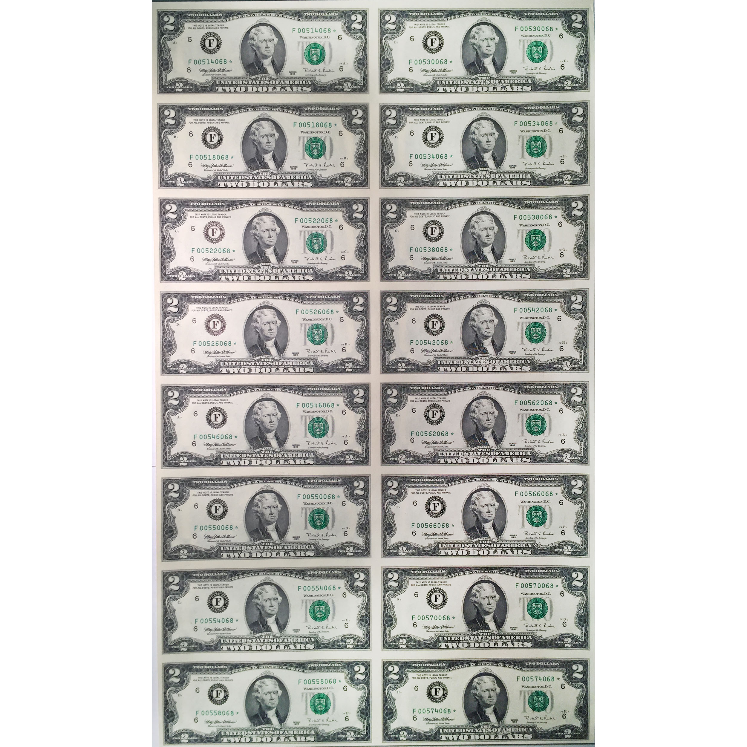 Uncut Currency Sheet 16 X 2 1995 Star Unc Golden Eagle