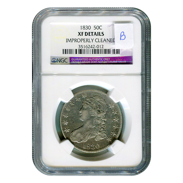 Certified Bust Half Dollar 1830 XF Details NGC (B)