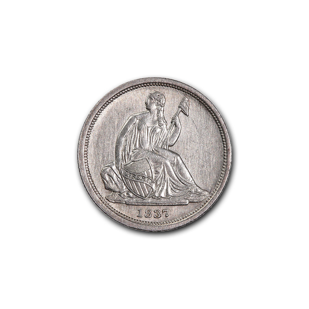 Seated Liberty Dime 1837 Almost Uncirculated