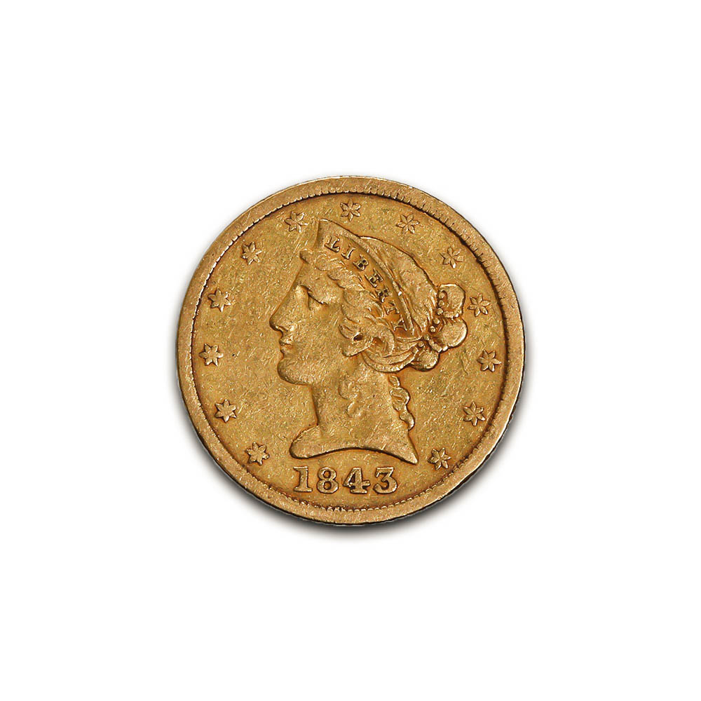 US $5 Gold Liberty 1843 XF