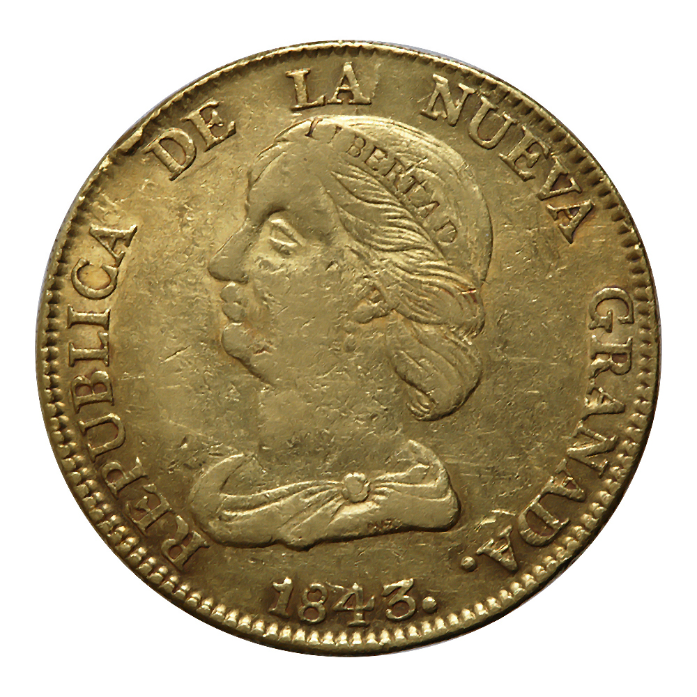 Colombia 16 Pesos Gold 1843 VF