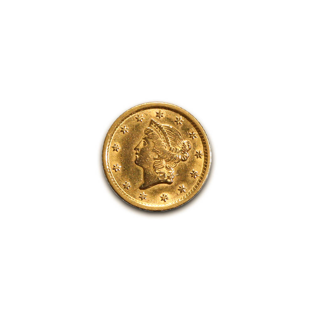 Early Gold Bullion $1 Liberty Gold type1 Extra Fine to AU