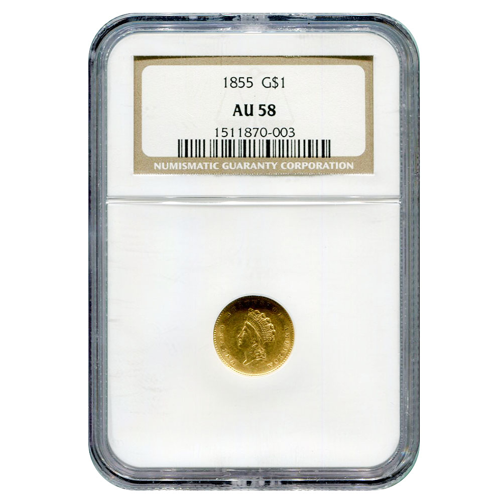 Certified $1 Gold Liberty 1855 AU58 NGC