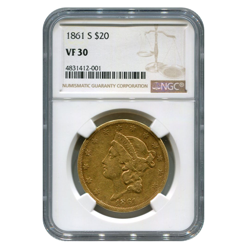 Certified US Gold Liberty $20 1861-S VF30
