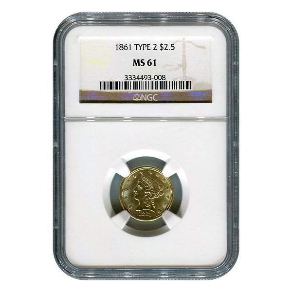 Certified $2.5 Gold Liberty 1861 Type 2 MS61 NGC