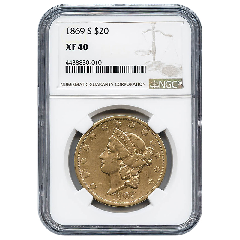 Certified US Gold $20 Liberty 1869-S XF40 NGC