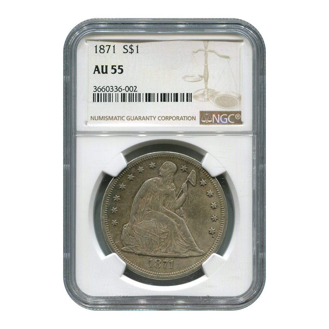 Certified Seated Dollar 1871 AU55 NGC