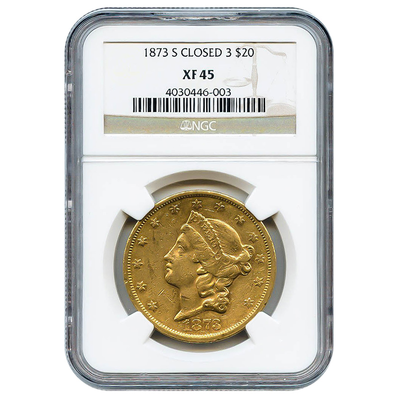 Certified US Gold $20 1873-S Closed 3 XF45 NGC