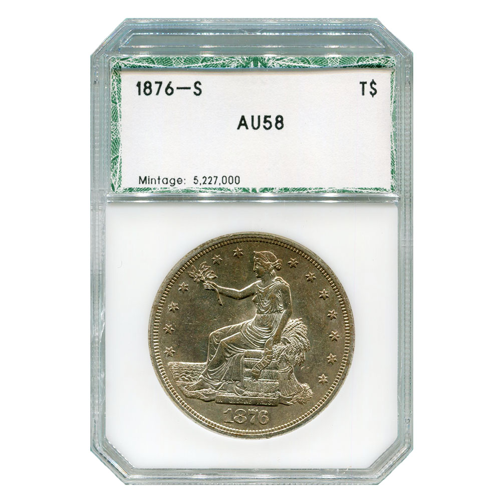 Certified Trade Dollar 1876-S AU58 PCI