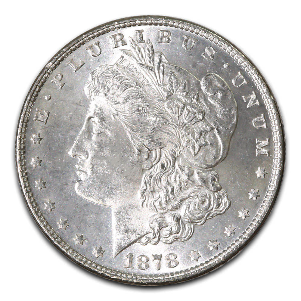 Morgan Silver Dollar Uncirculated 1878 7 over 8