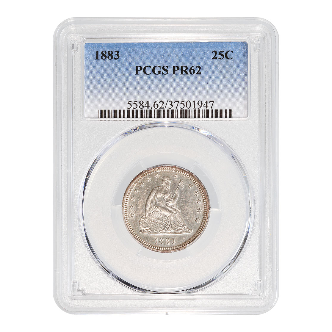 Certified Seated Liberty Quarter 1883 PR62 PCGS