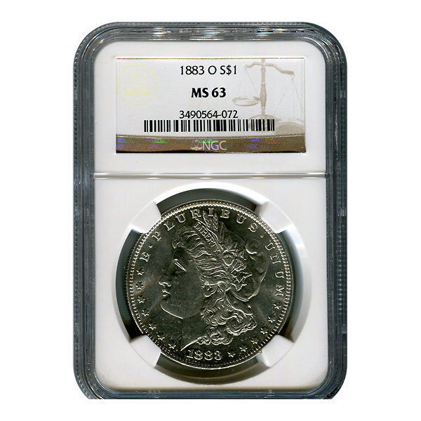 Certified Morgan Silver Dollar 1883-O MS63 NGC
