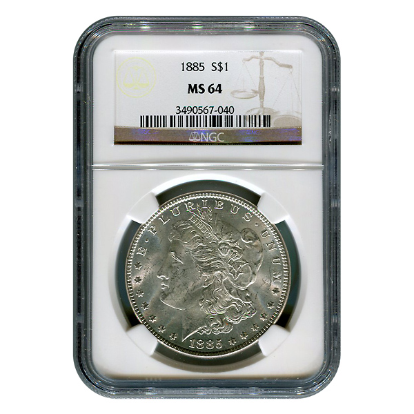 Certified Morgan Silver Dollar 1885 MS64 NGC
