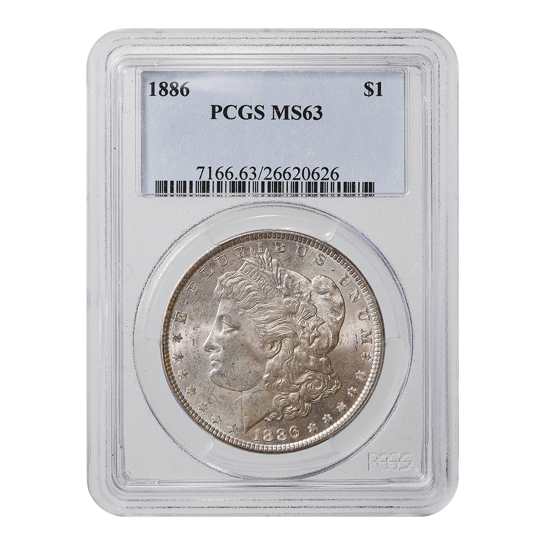 Certified Morgan Silver Dollar 1886 MS63 PCGS