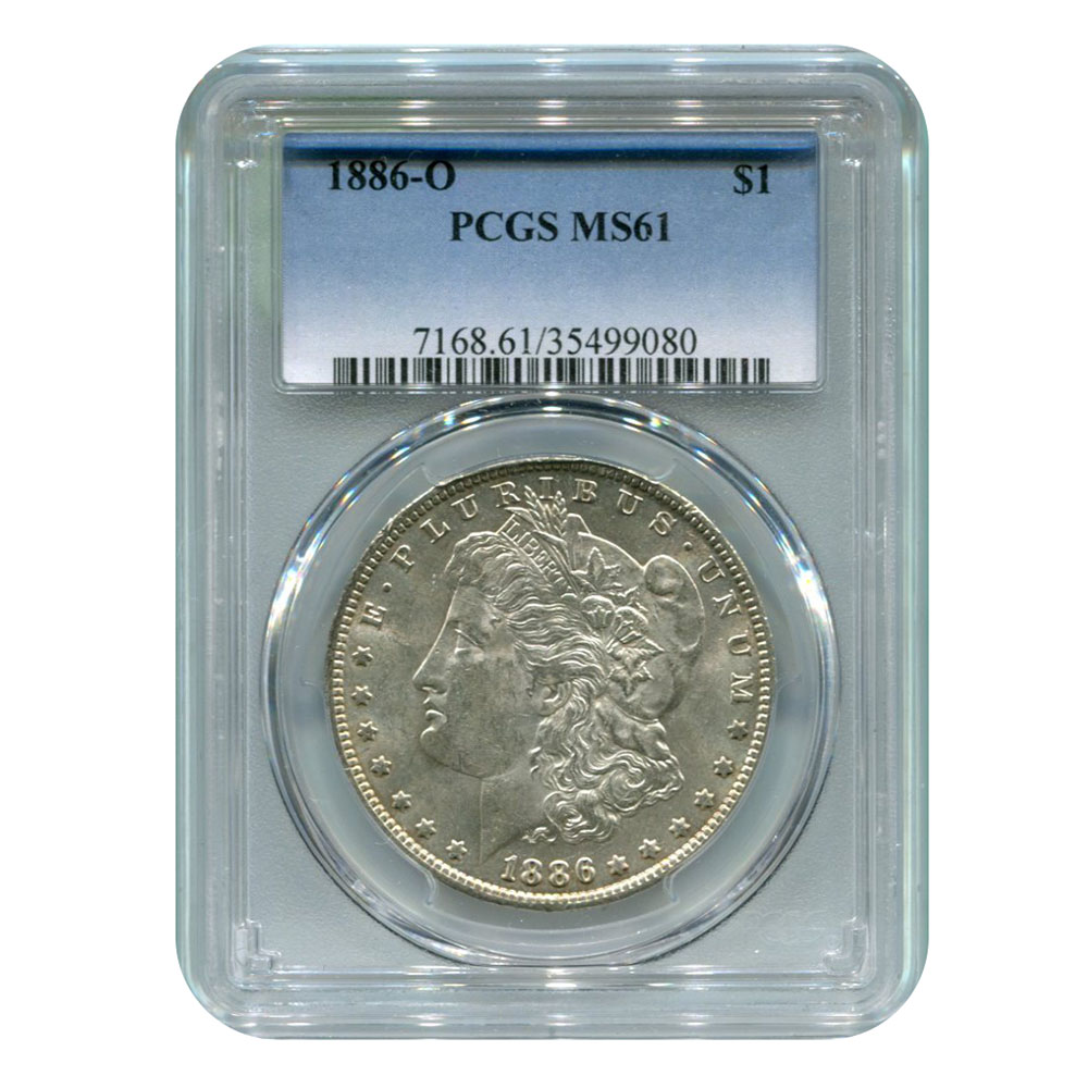 Certified Morgan Silver Dollar 1886-O MS61 PCGS
