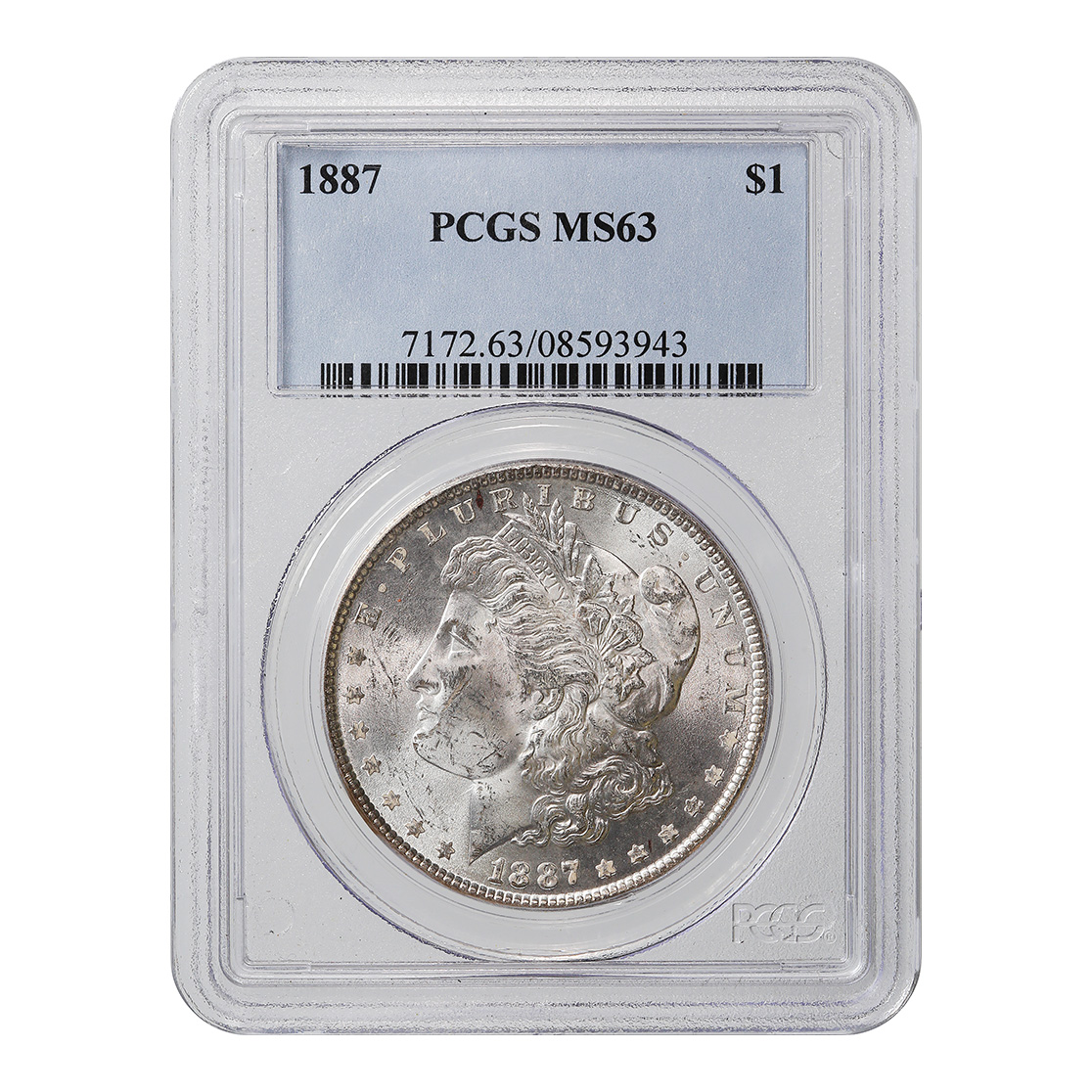 Certified Morgan Silver Dollar 1887 MS65 PCGS