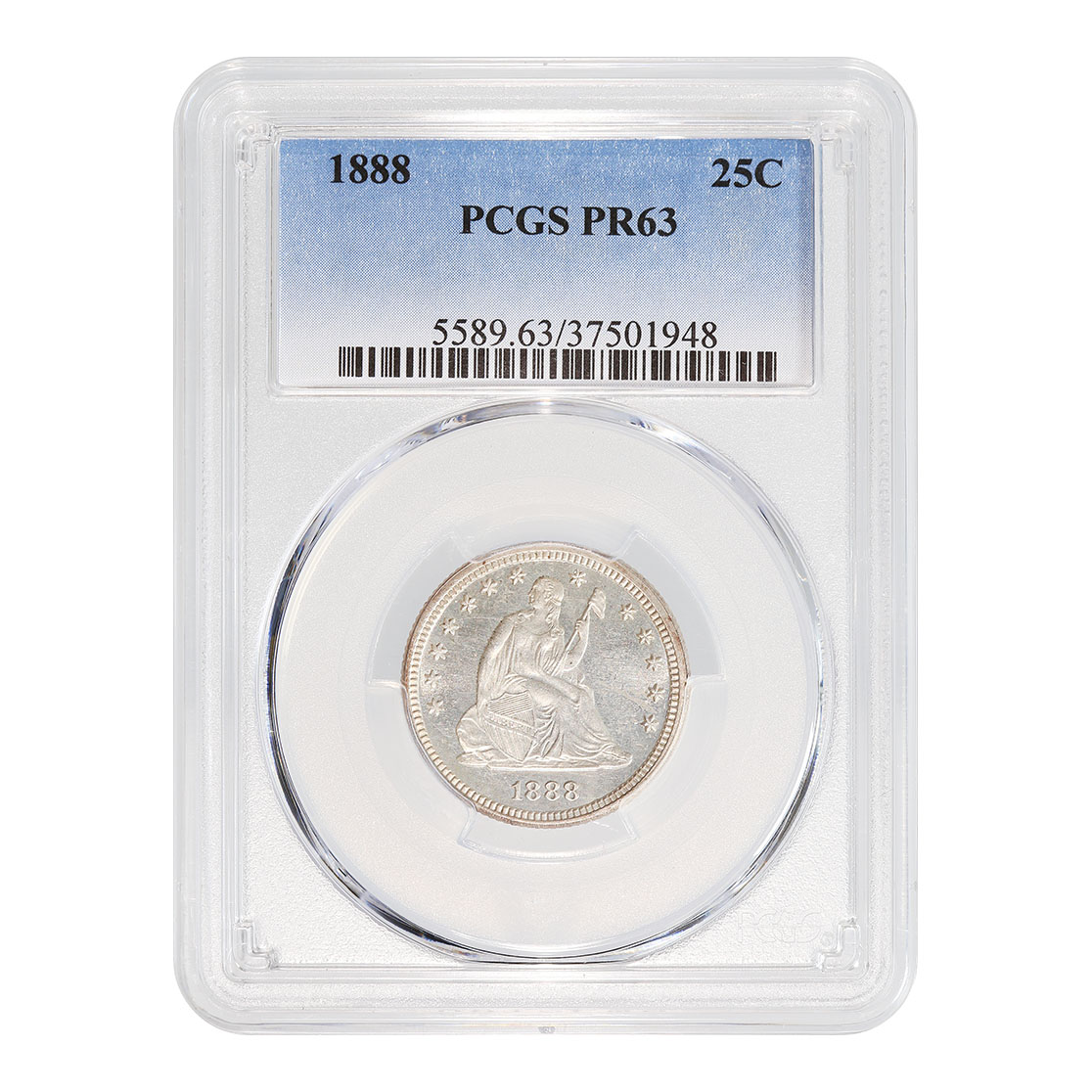Certified Seated Liberty Quarter 1888 PR63 PCGS