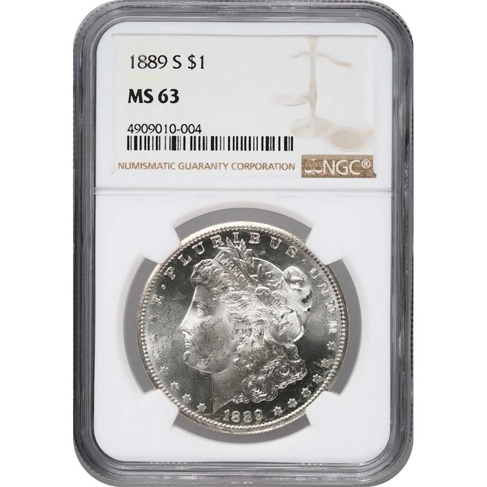 Certified Morgan Silver Dollar 1889-S MS63 NGC
