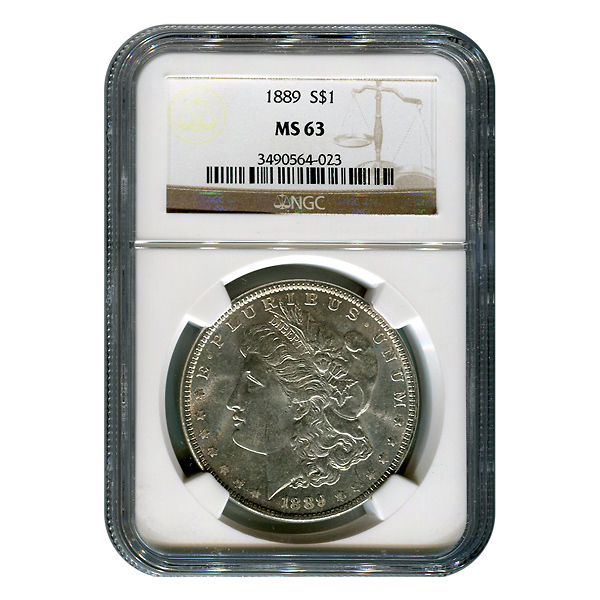 Certified Morgan Silver Dollar 1889 MS63 NGC