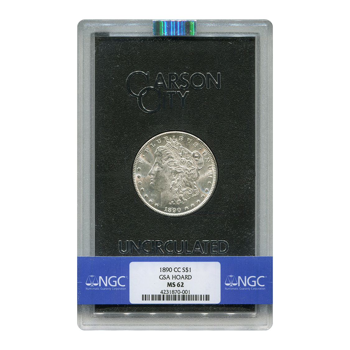Carson City Morgan Silver Dollar 1890-CC GSA MS62 NGC