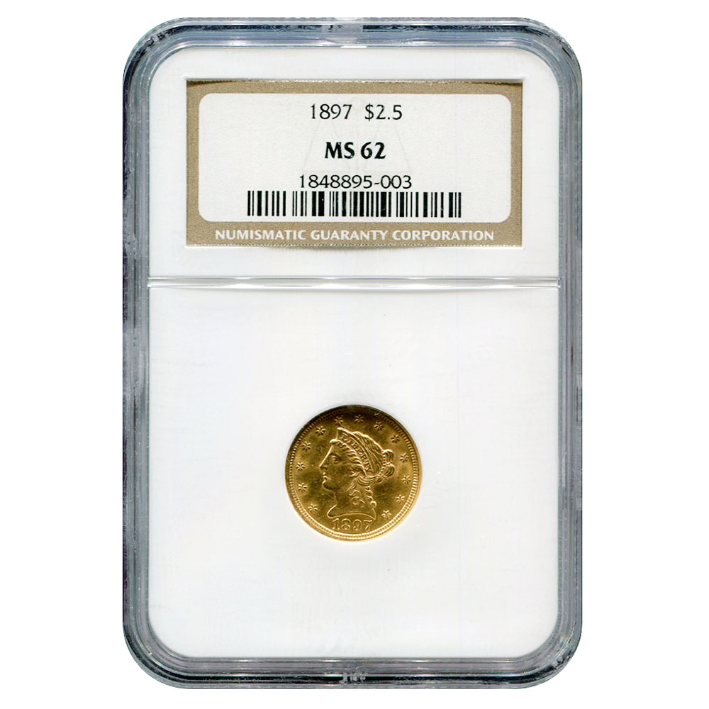 Certified $2.5 Gold Liberty 1897 MS62 NGC
