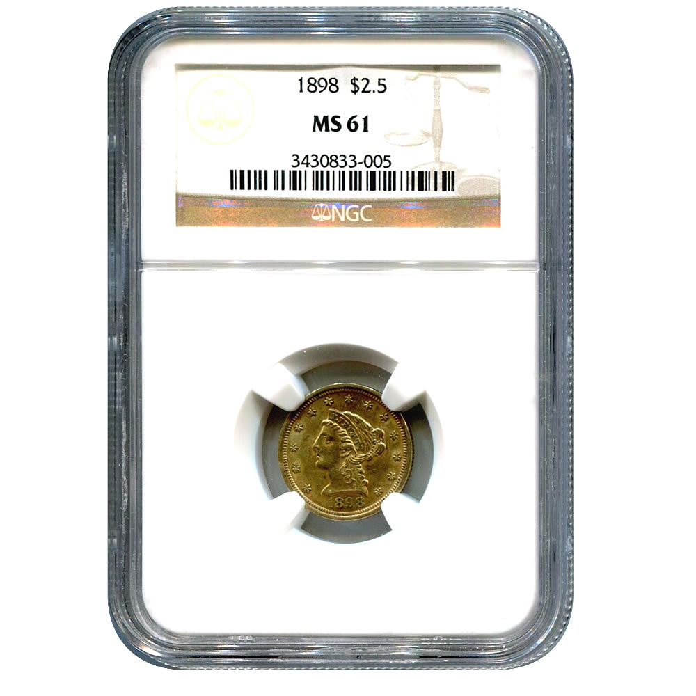 Certified $2.5 Gold Liberty 1898 MS61 NGC
