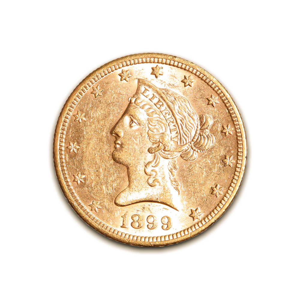 $10 Gold Liberty 1899 Almost Uncirculated