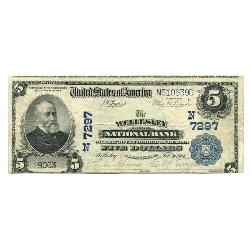 1902 $5 National Banknote Wellesley MA Charter #7297 Fine