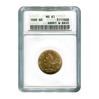 Certified $5 Gold Liberty 1905 MS61 ANACS (Harry Bass Collection)