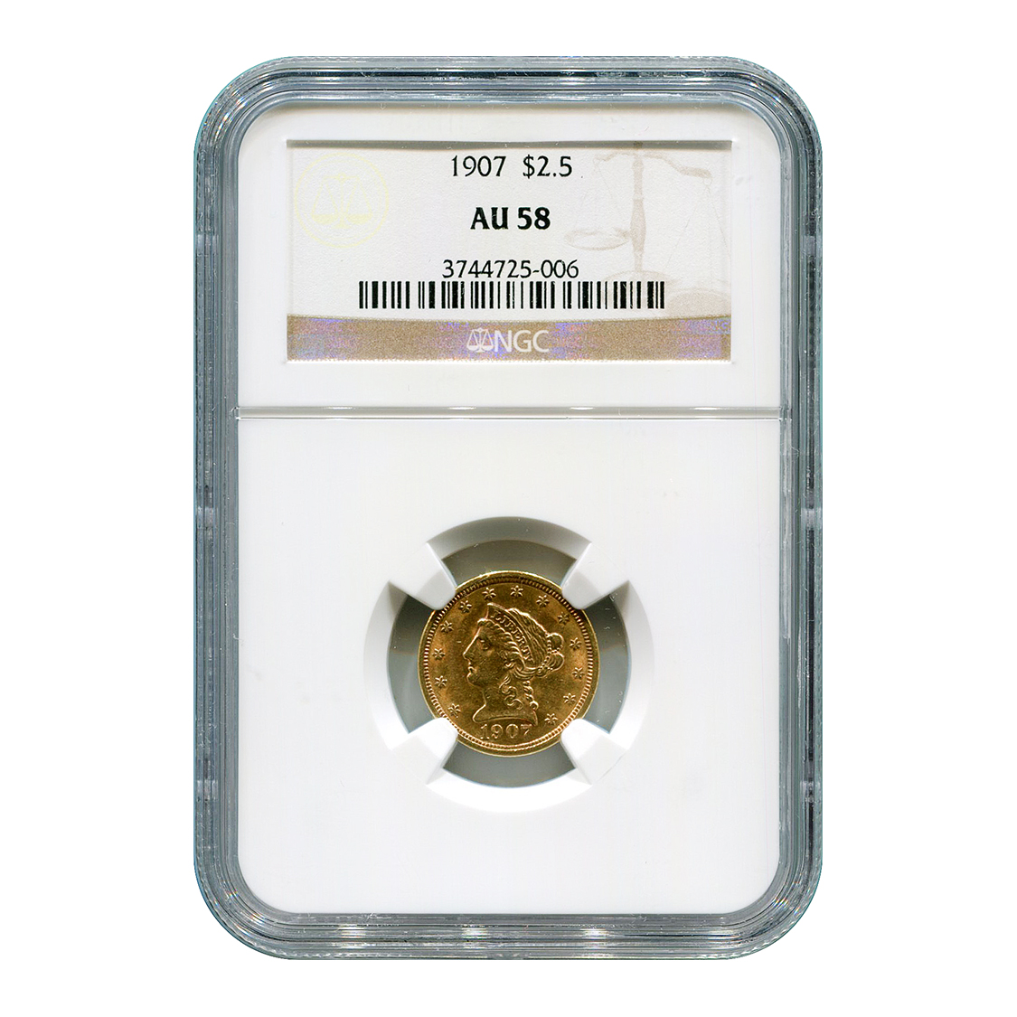 Certified US Gold $2.5 Indian 1907 AU58 NGC