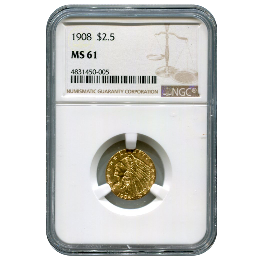 Certified US Gold $2.5 Indian 1908 MS61 NGC