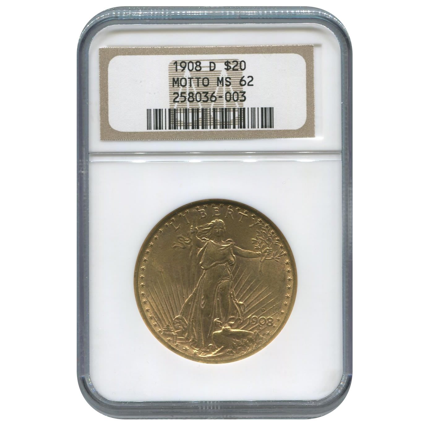 Certified $20 St Gaudens 1908-D MS62 NGC