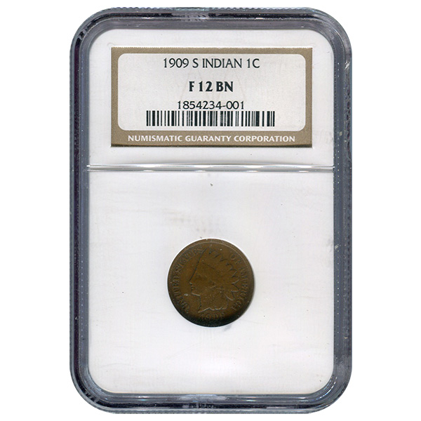 Certified Indian Head Cent 1909-S F12BN NGC