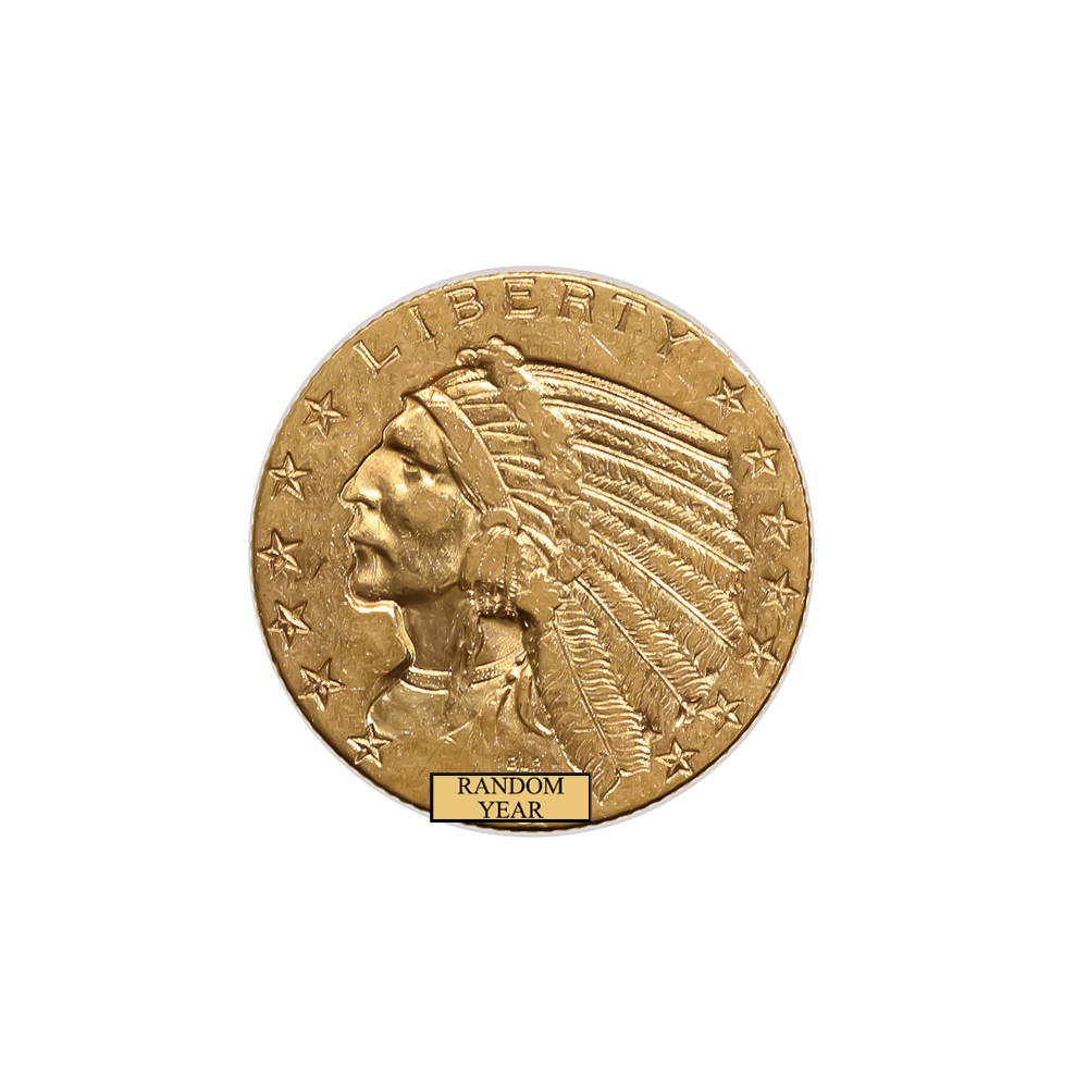 Early Gold Bullion $5 Indian Extra Fine