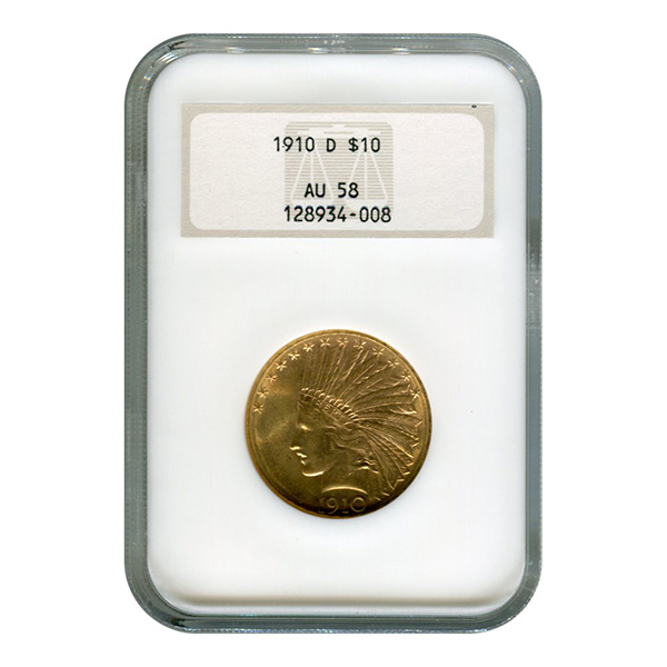 Certified US Gold $10 Indian 1910-D AU58 NGC