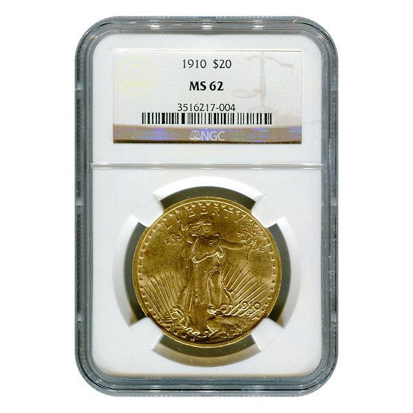 Certified $20 St Gaudens 1910 MS62 NGC