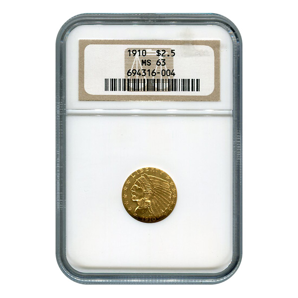 Certified US Gold $2.5 Indian 1910 MS63 NGC