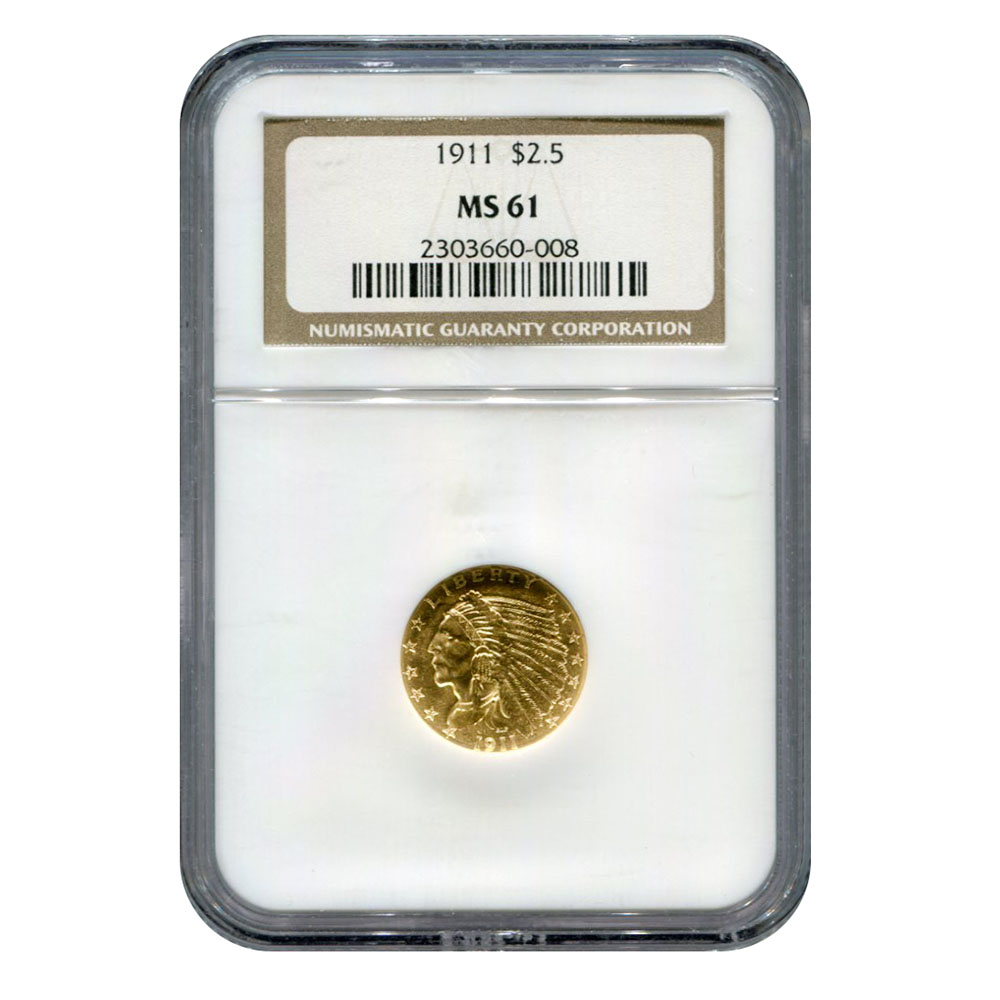 Certified US Gold $2.5 Indian 1911 MS61 NGC
