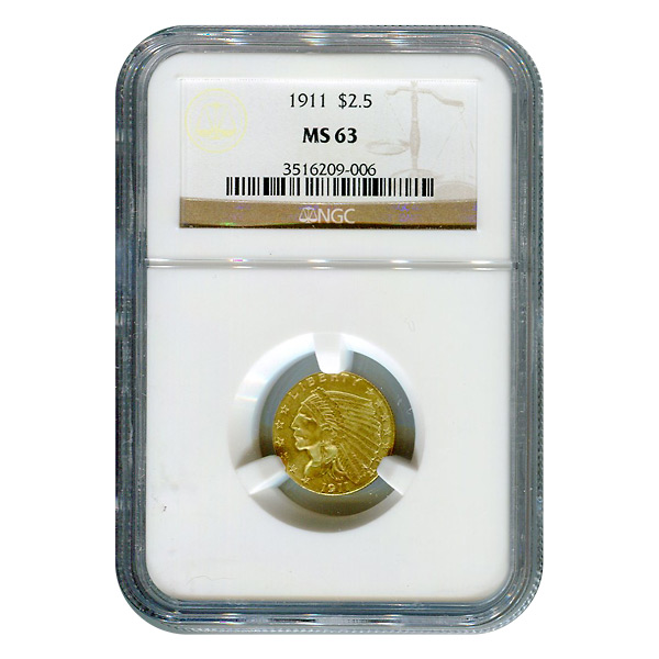 Certified US Gold $2.5 Indian 1911 MS63 NGC
