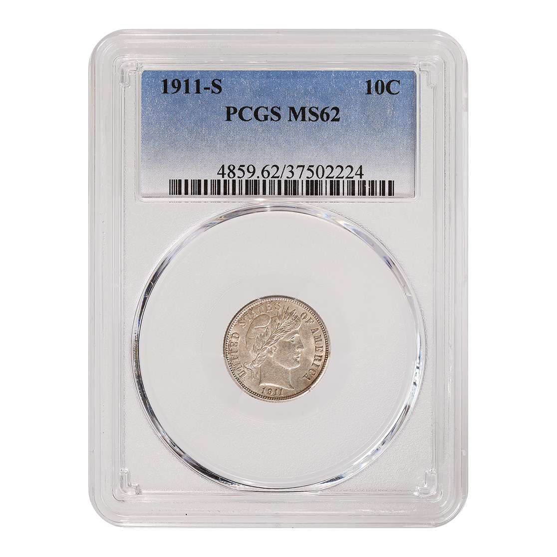 Certified Barber Dime 1911-S MS62 PCGS