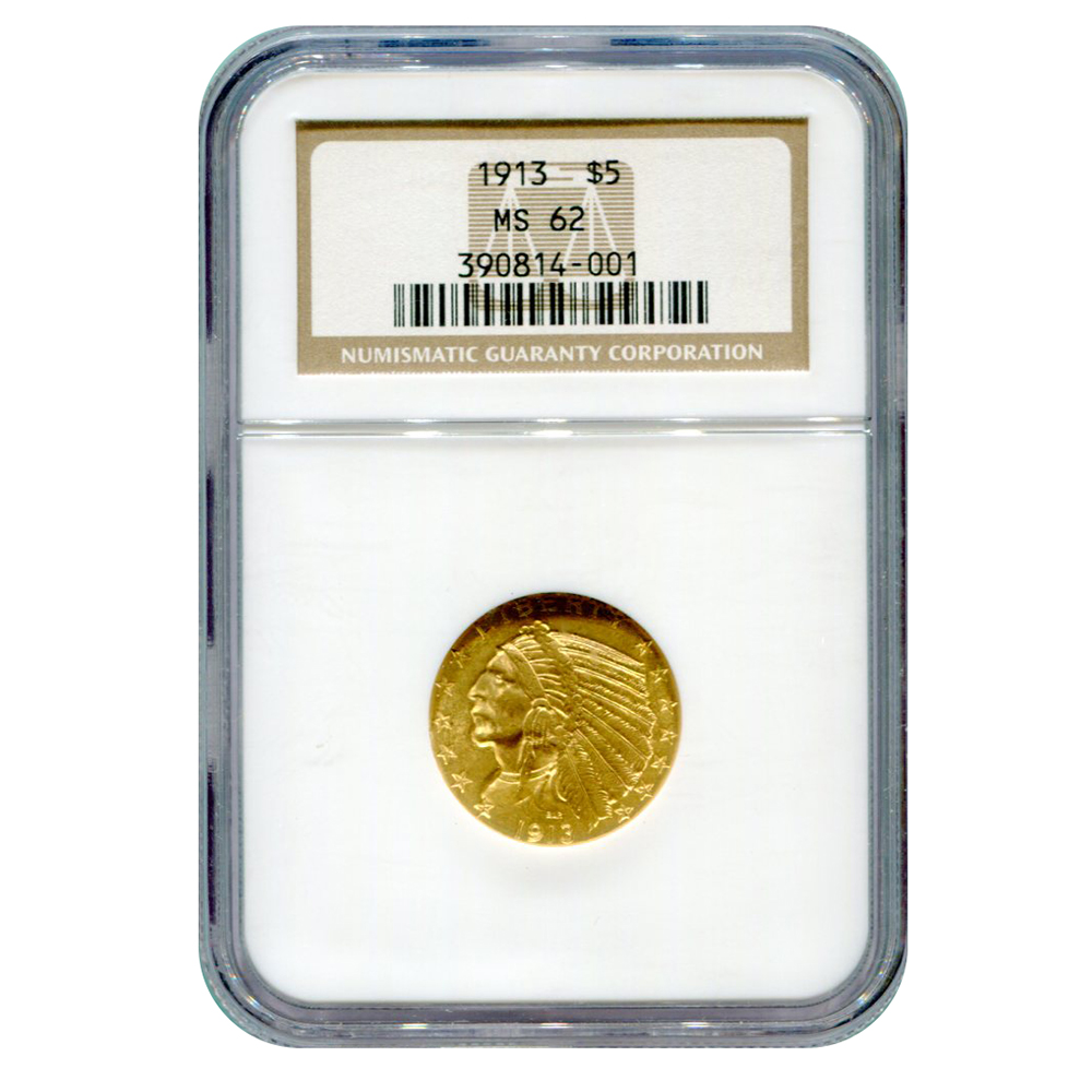 Certified $5 Gold Indian 1913 MS62 NGC